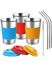 TOUGS Stainless Steel Cups with Silicone Lids, Sleeves and Stainless Steel Straws | 3 Pack 16 oz. Drinking Tumblers Cups for Toddlers, Kids and Adults | Eco-Friendly | BPA-Free