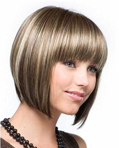 falamka A0900 Chic Full Bang corto Bob peluca de las mujeres color mezclado para uso diario