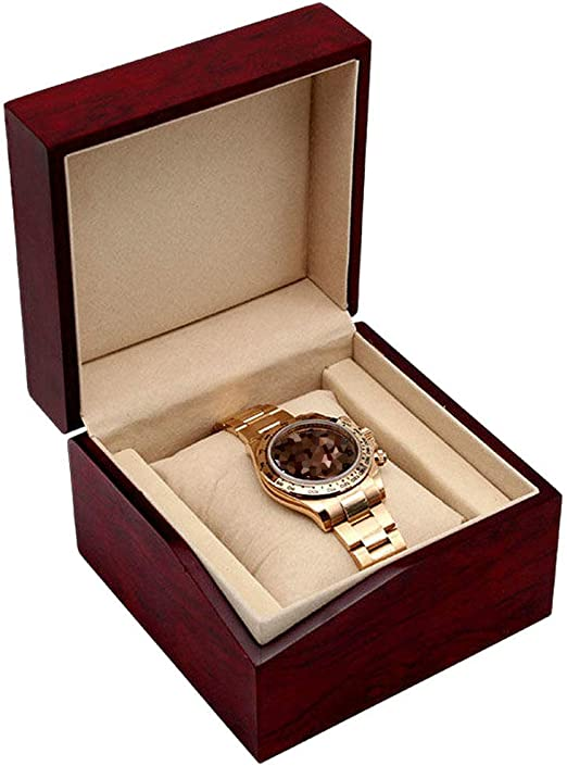 LMEI-WatchBox Caja De Reloj/Caja De Reloj Individual, Elegante Vino Tinto, Boda, CumpleañOs, DíA De San ValentíN 12 × 12 × 8.6cm: Amazon.es: Jardín