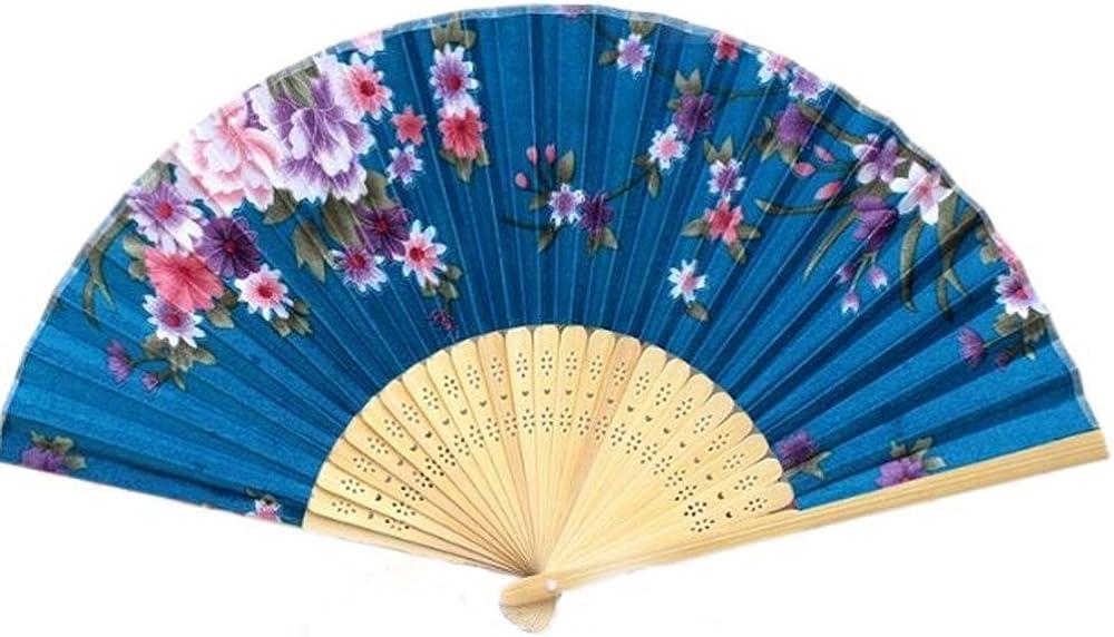 CRB Fashion Flower Folding Hand Fan Dancing Wedding Party Decor Chinese Fans