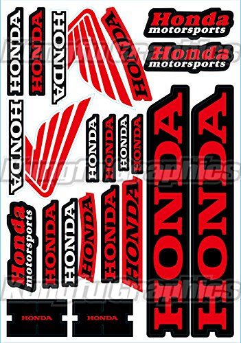 Kungfu Graphics Honda Wing Sponsor Logo Racing Sticker Sheet Universal (7.2x 10.2 inch), Red Black Motocross Graphics
