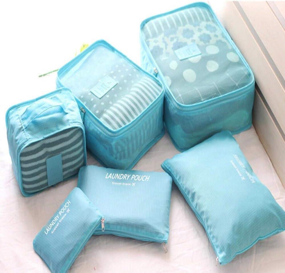 Vektenxi Organisateurs de voyage Sacs Pochette de rangement /étanche Pochette de rangement pour valise /à bagages 6 Pcs Bleu Pratique et populaire