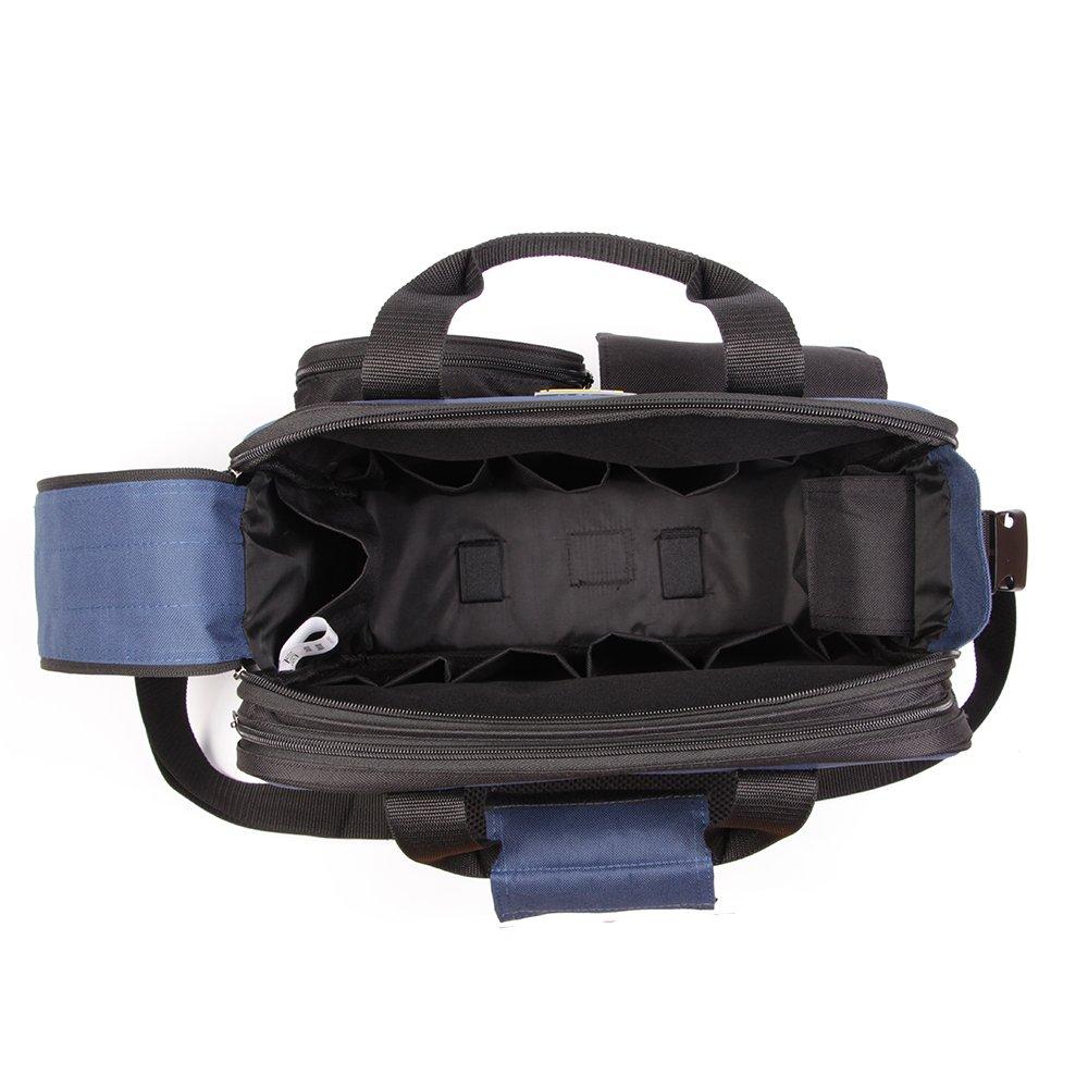 FASITE PTN048 Adjustable Shoulder Strap 2 Small Pockets Outside Tool Holder Bag, Black & Blue