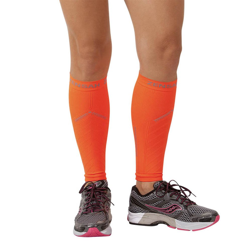 eafb5f6aef Zensah Reflective Compression Leg Sleeves - Best Night Running Gear -  Relieve Shin Splints - Calf Sleeves for Running - Improve Visibility, Neon  Orange ...