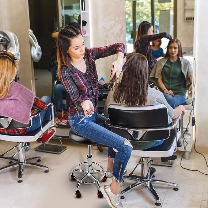 Noir Tabouret Salon De Beaut/é pour Salon de Massage Ejoyous Tabouret /à Roulettes Mobile Ronde Tabouret Roulant /à Hauteur R/églable avec Repose-pieds et Roues Salon de Coiffure M/édical Tattoo