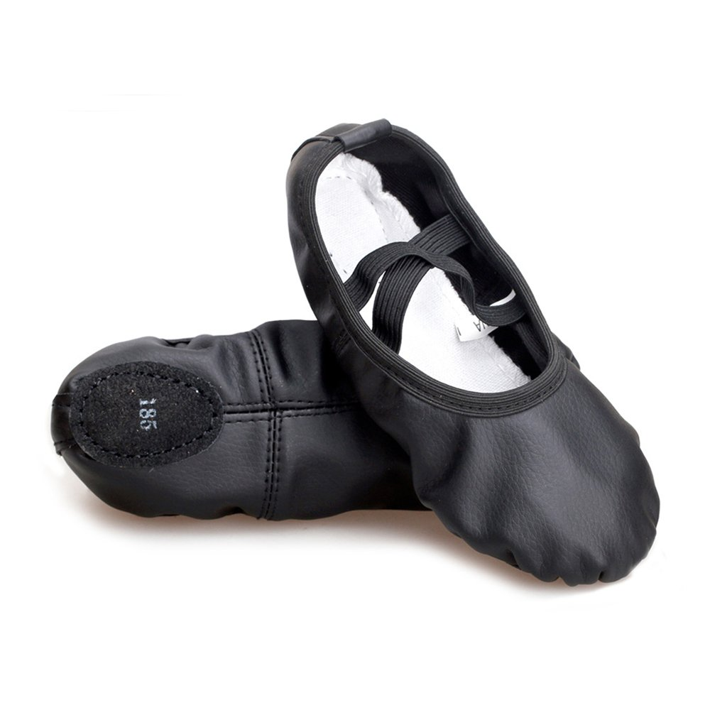 Girls Split Sole Leather Flat Ballet Shoes, Black, Foot Length: 9.06 inch-Big Kid 5M-Size: 250