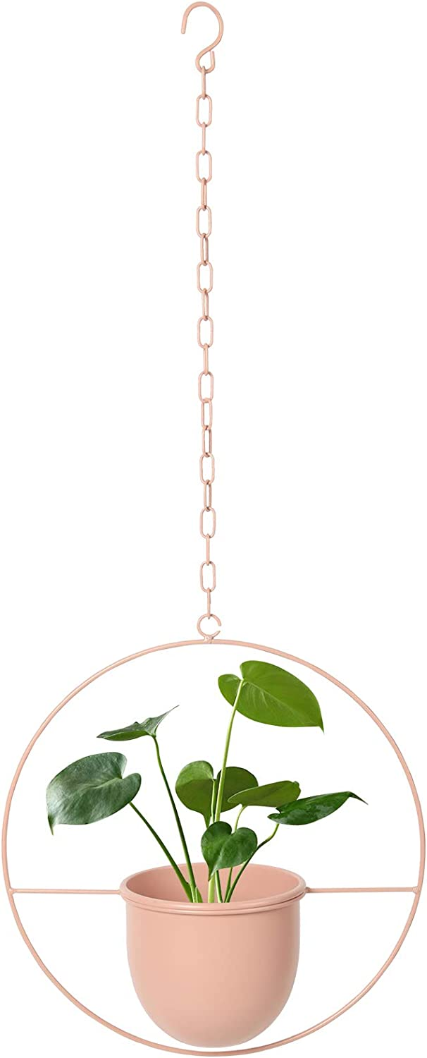 Indoor Hanging Planters with Adjustable Chain,Ceiling Round Metal Hanging Planter,Mid-Century Modern Decor Wall Mounted Planter Detachable(D=5.5'',Peachpink)
