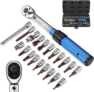 barra de extensi/ón y caja de almacenamiento Juego de llaves dinamom/étricas de 1//4 de pulgada Incluye llaves Allen y Torx 2 a 20 Nm Kit de mantenimiento de bicicletas de carretera y de monta/ña