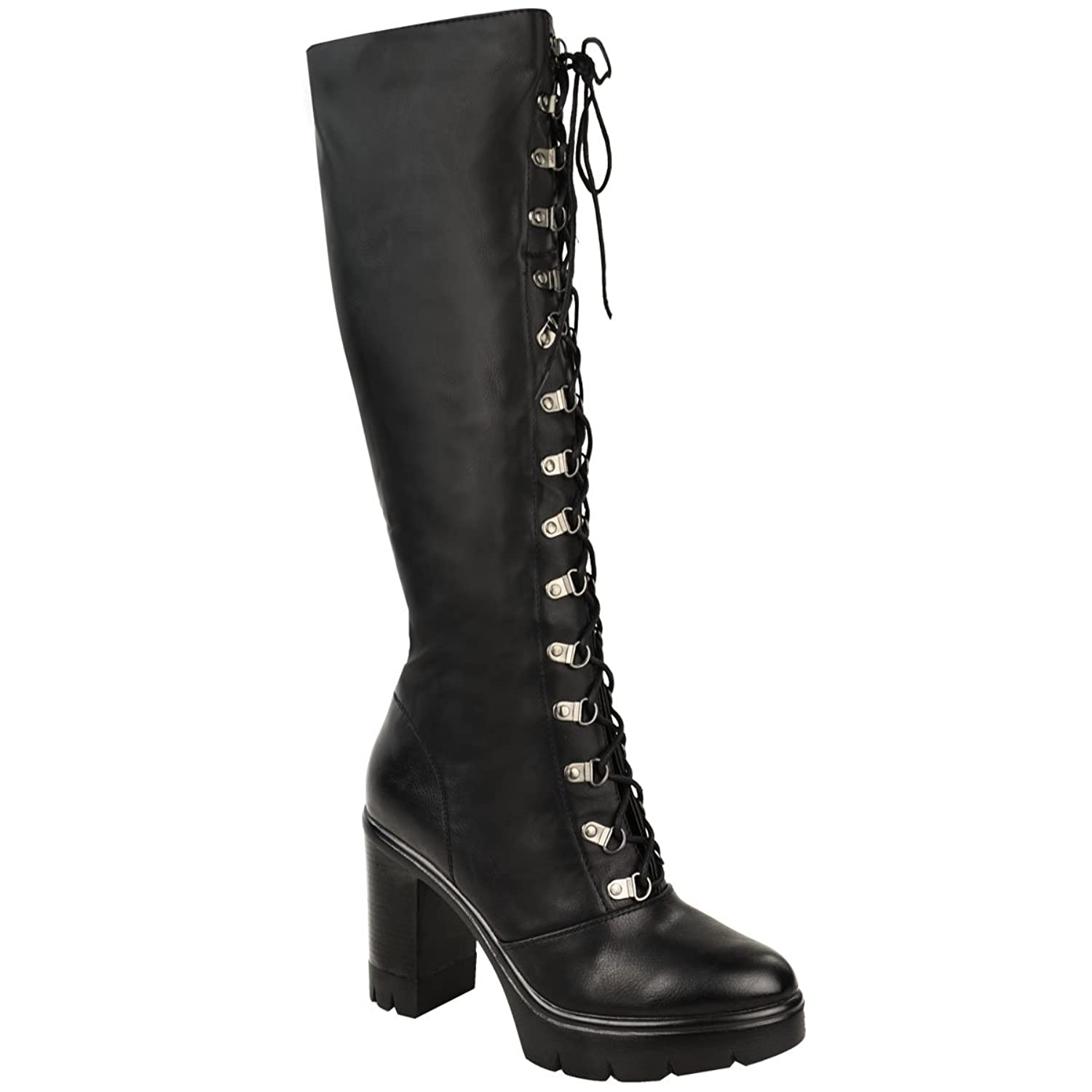 Fashion Thirsty Womens Chunky Block Heel Cleated Sole Lace Up Goth Punk Knee High Biker Boots Size