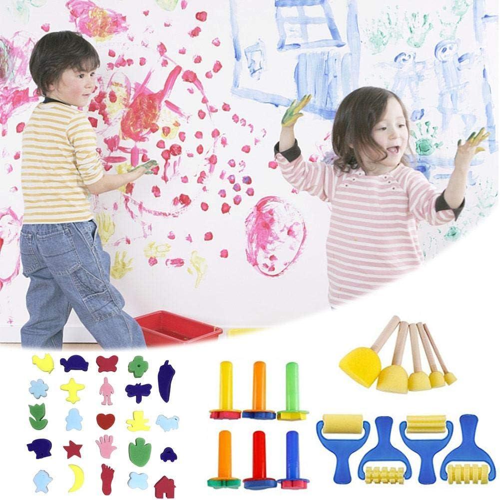 Greatideal 39 PCS Kid's Paint Sponges Kits de Sellos Early DIY Learning Niños Arte y artesanía Niños Regalos de cumpleaños de Navidad EVA