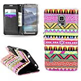 CoverON® for Samsung Galaxy S5 Active (G870) Wallet Case [CarryAll Series] Flip Credit Card Phone Cover Pouch with Screen Protector and Wristlet Strap - Aztec tribal (Will Not Fit Other S5 Models)