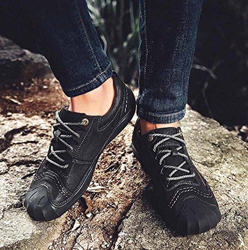 À Noir Hommes Caoutchouc Cuir Chaussures En Randonnée Plein De Similicuir La Automne Plates Main Nouvelle Occasionnelles Shixran Air qwTdx6T