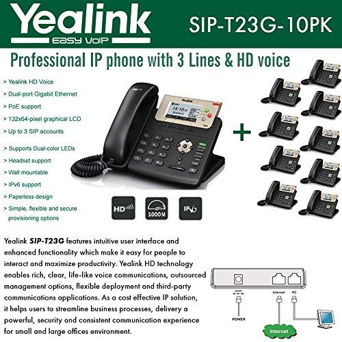 Yealink IP Phone VoIP SIP-T23G (10 Units) Dual-port Gigabit 3-Line PoE Sip Ip Phone