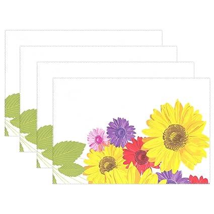 U vida elegante Watercolor Floral girasoles de grosor alfombrilla de la bandeja placa manteles individuales manteles ...
