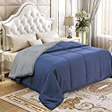 YGJT Comforter Set Queen Reversible Down Alternative Comforter Duvet Insert Thin Quilt for Spring Summer Autumn Lightweight Washable Navy Blue Grey 90 x 90 inch