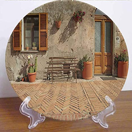 Amazon Com Burton Edith Tablecloth 10 Tuscan Decor Collection Ceramic Decorative Plate Medieval Facade Italian Rustic Wooden Door Brick Wall In Small Village Accessory For Fine Dining Parties Wedding Home Kitchen