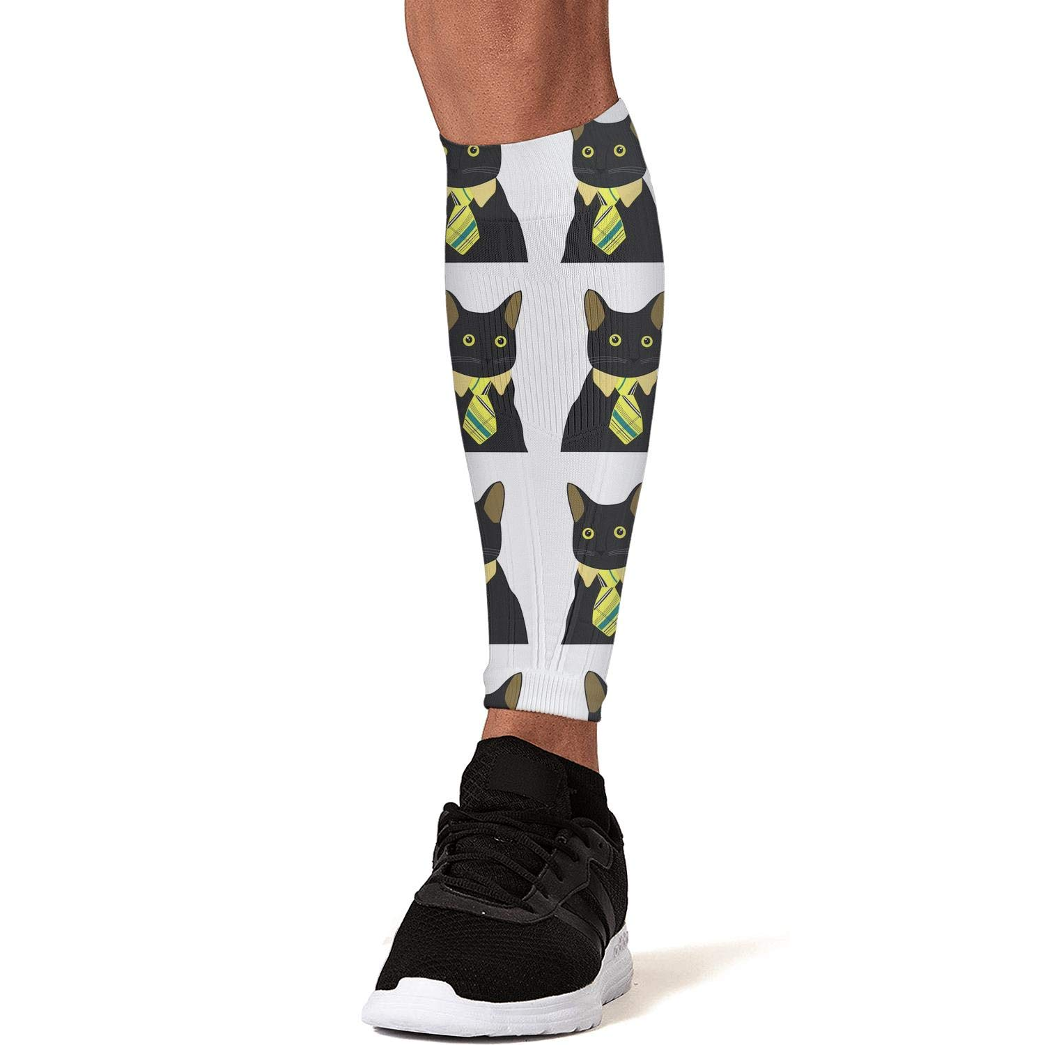 Smilelolly Black Cats with Ties Calf Compression Sleeves Helps Faster Recovery Leg Sleeves for Men Women