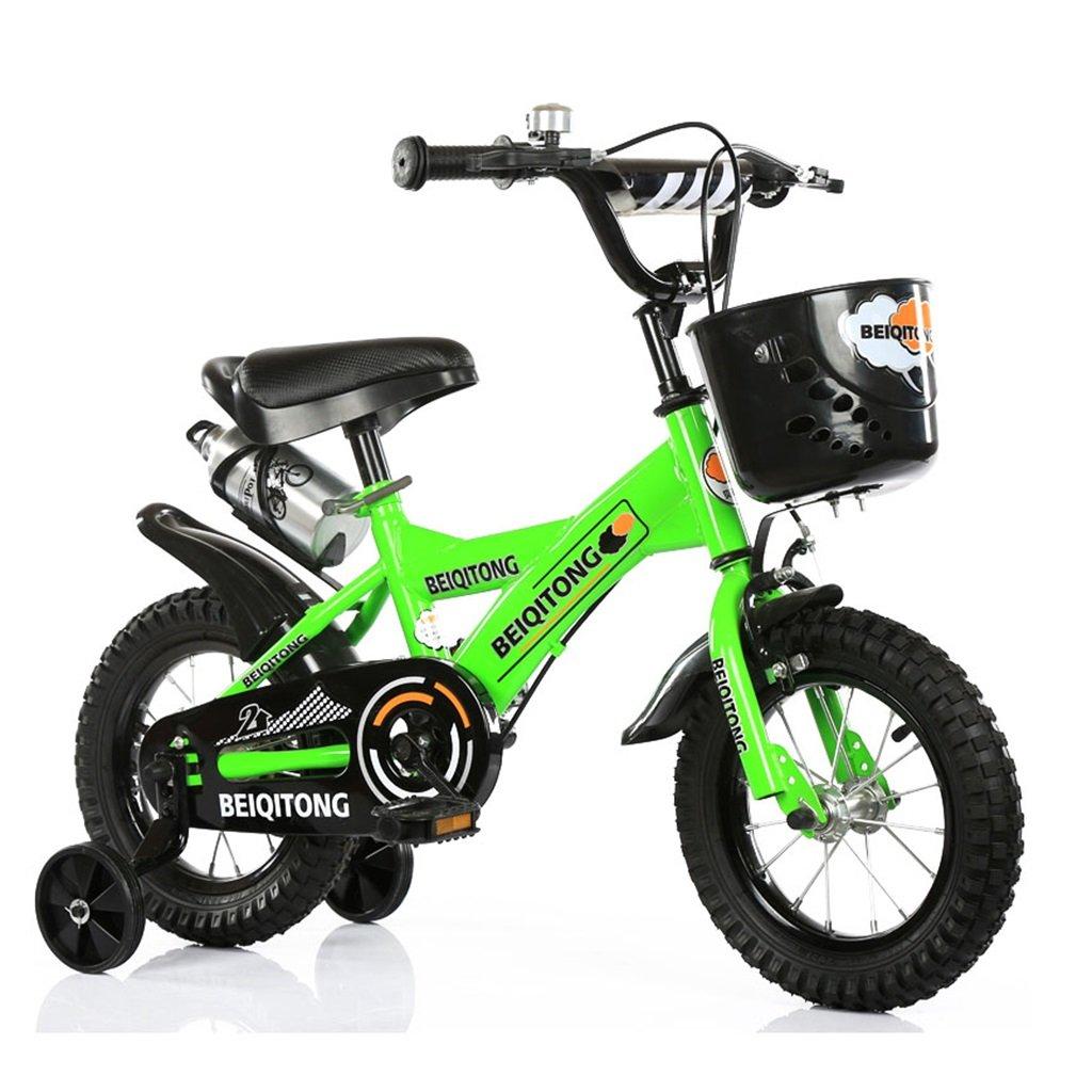 子供の自転車12|14|16|18|20インチ屋外の子供の赤ちゃんキッドマウンテンバイク黒のトレーニングホイールで2歳から11歳の男の子の女の子の贈り物|プラスチックバスケット|水ボトルセーフグリーン B078JL9132 16 inches