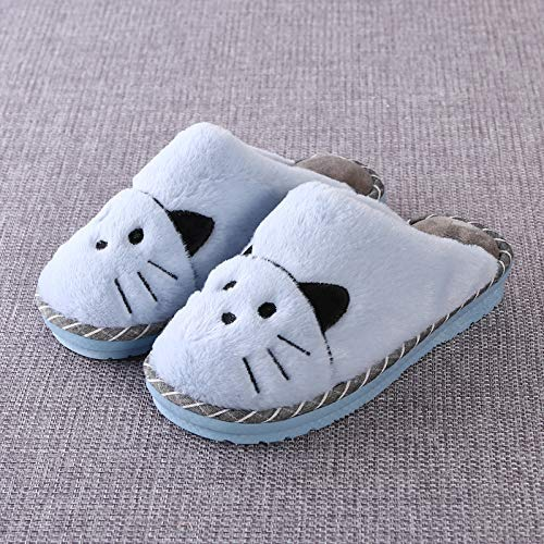 Comfortable Soft Touch Cartoon Winter Cotton Slippers Female Thick Bottom Couple Cute Home Shoes Non-Slip Warm Indoor Slippers Lihin Warm Color : Blue, Size : 2