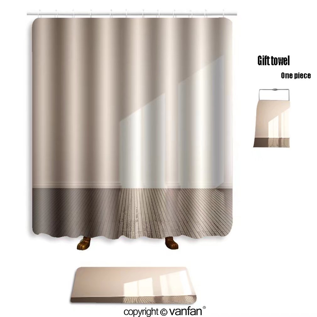 Vanfan Bath Sets With Polyester Rugs And Shower Curtain Interior Background 109786748 Curtains Bathroom