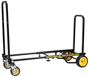 """Rock-N-Roller R2G (Micro Ground Glider) 8-in-1 Folding Multi-Cart/Hand Truck/Dolly/Platform Cart/26"""" to 39"""" Telescoping Frame/350 lbs. Load Capacity, Black"""