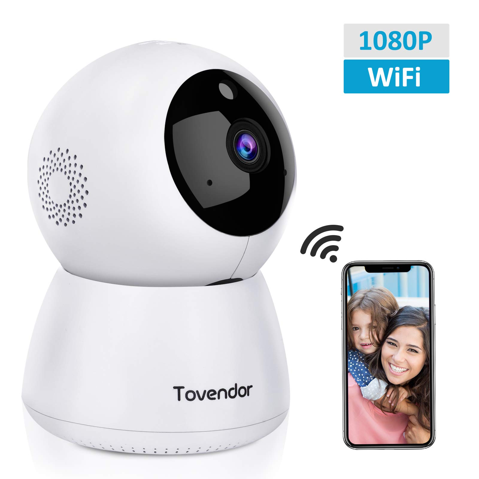 Tovendor IP Camera WiFi 1080P, Pan/Tilt/Zoom Dome Camera, Home Security System with Night Vision, Motion Detection, 2 Way Audio For Surveillance/Elder/Pet/Office/Baby Monitor - Cloud Service