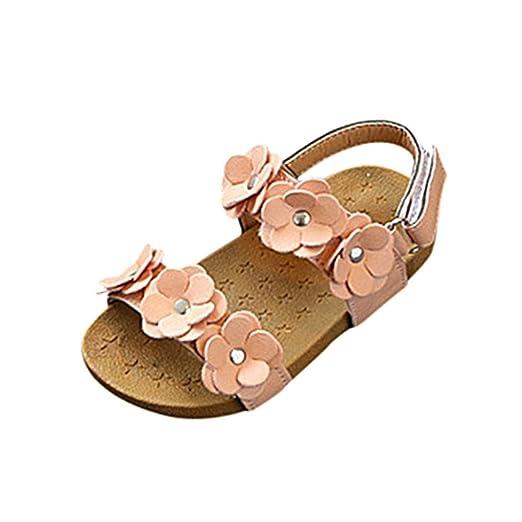 784586343b7a85 Axinke Girls Summer Open Toe Flowers Beach Shoes Flat Slingback Princess  Sandals (5.5 M US