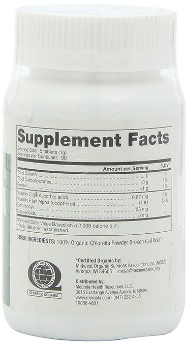 Mercola- Organic Broken Cell Wall Chlorella 1 bottle- 450 tablets
