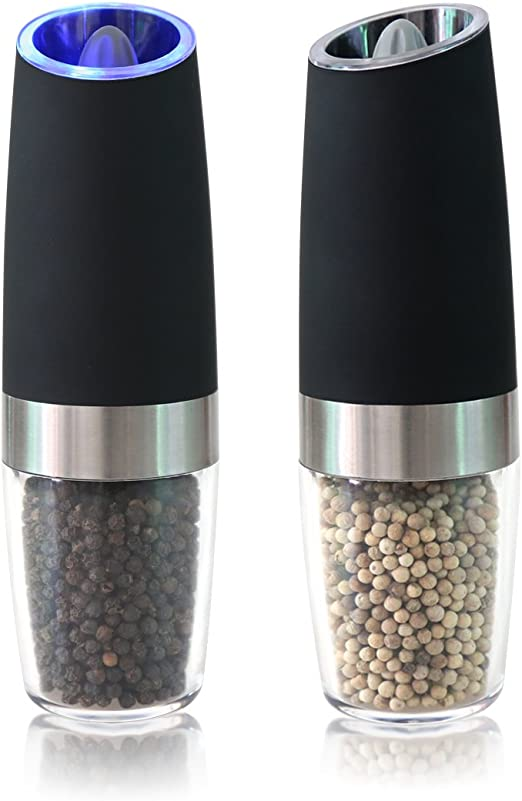 Portable Electric Gravity Pepper Grinder Salt Spices Mill Shaker with LED Light
