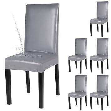 Fantastisch YISUN 4er/6er Set Esszimmer Stuhlhussen, Solide Pu Leder Wasserdichte  Stretch Esszimmerstuhl Schutzhülle