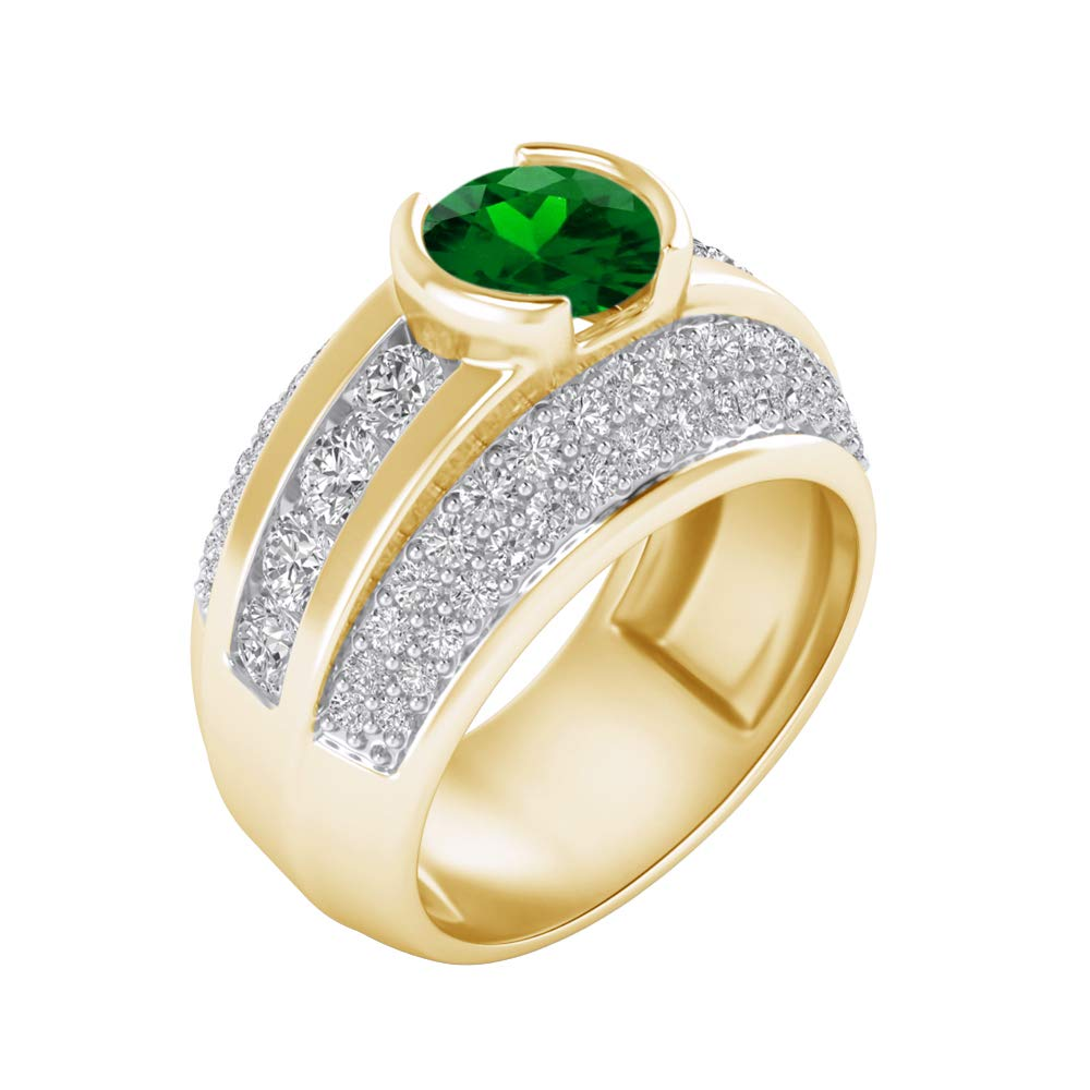 Shakti Jewels 925 Sterling Silver 14k Yellow Gold Plated Round Cut Green Emerald /& White Cubic Zirconia Engagement Ring for Womens