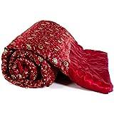 Mahadev handicrafts Double Bed Size Maroon Jaipuri Silk AC Quilt Razai with Gold Prints Printed Double Bed Quilt/Comforter/AC Quilt/AC Comforter/Razai