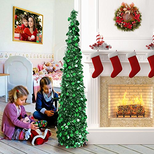 1s Fireplace (AerWo 5ft Pop up Christmas Tinsel Tree with Stand, Gorgeous Collapsible Artificial Christmas Tree for Christmas Decorations, Green)