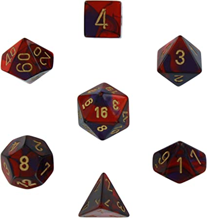 Polyhedral 7-Die Gemini Dice Set - Purple-Red with Gold
