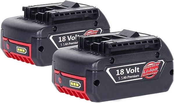 2 X Dosctt Reemplazo para Bosch 18V 5.5Ah Litio Taladro Batería BAT609 BAT609G BAT618 BAT618G BAT619 BAT619G (Nueva Versión Con Indicador LED): Amazon.es: Bricolaje y herramientas