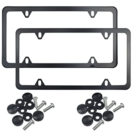Amazon.com: Wobe Black Licence Plate Frames, 2 Pcs 4 Holes Stainless ...