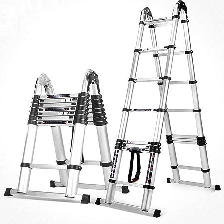 Jian E-// Escalera elevadora multifuncional, escalera telescópica de engrosamiento, escalera plegable de todos los hogares de aleación de aluminio, tubo redondo sin soldadura de refuerzo de ingeniería: Amazon.es: Hogar