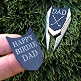 WOODULIKE Dad Engraved Golf Ball Marker & Divot Tool Remover - 2 SIDED MARKER
