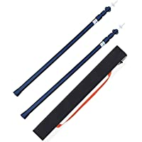 Hikeman Telescoping Tarp Poles Set of 2 Adjustable Aluminum Rods for Tent and Tarps, Lightweight Replacement Tent Poles for Shelter, Hammock Rain Fly, Awning