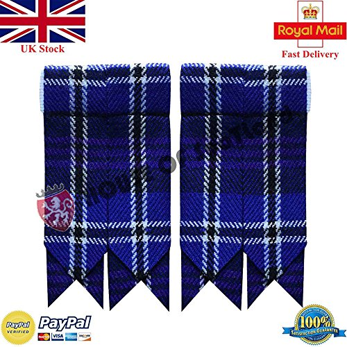(Scottish Kilt Hose Sock Flashes Various Tartan Garter Pointed Acrylic Wool Flashes (Heritage of Scotland))