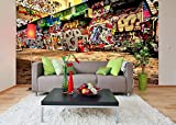 Removable Wallpaper Mural Peel & Stick Graffiti (83H X 124W)