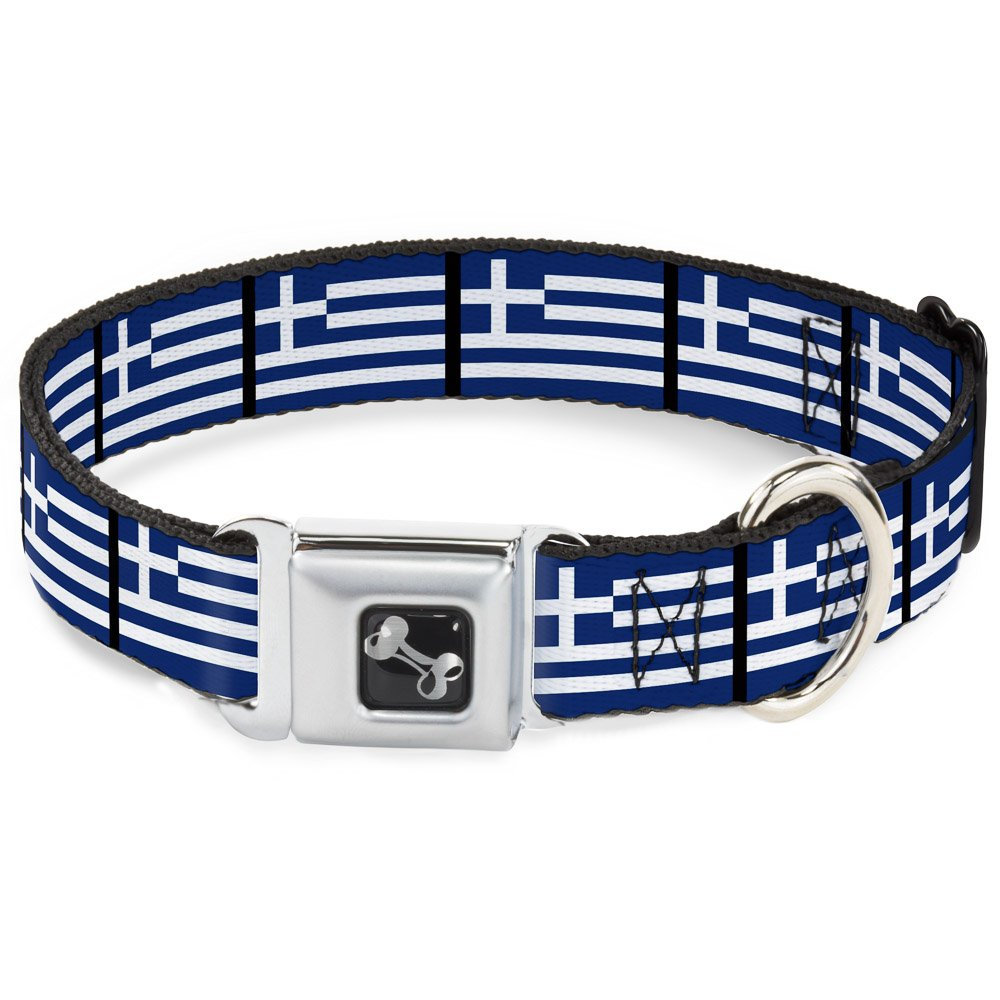 Greece Flags 1\ Greece Flags 1\ Buckle-Down Seatbelt Buckle Dog Collar Greece Flags 1  Wide Fits 9-15  Neck Small