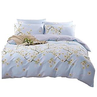 Four Sets Of Cotton, Four Sets Of Bedding, Four Sets Of Double Bed, Plant Flowers, Light Blue, Warm, 1.5m, 1.8m, 2.0m. ( Size : 1.8m )