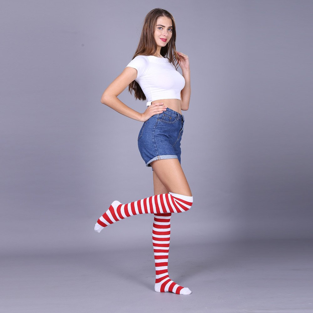 Auwer Women/'s Extra Long Striped Socks Over Knee High Opaque Stockings Clearance
