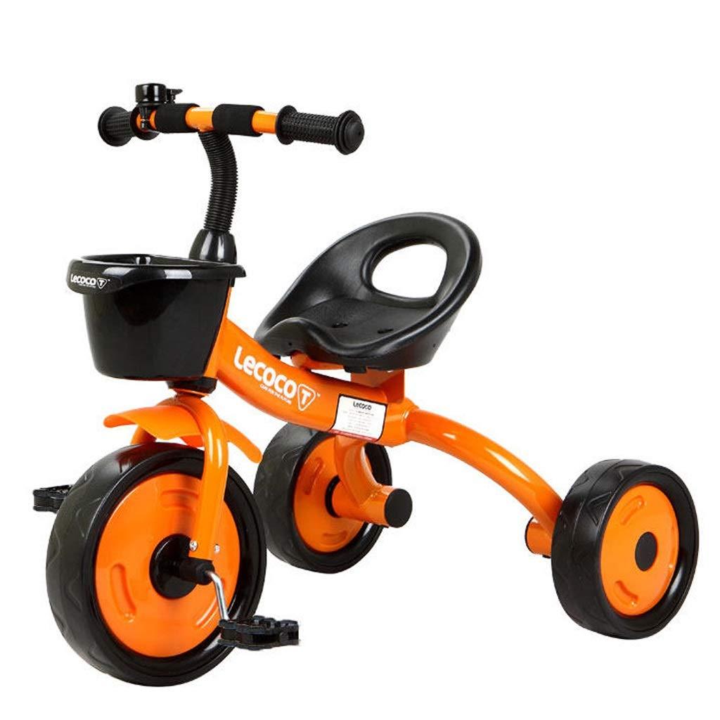 子供用三輪車 パーソナライズ子供用自転車 男の子と女の子用自転車 15歳の子供用屋外外出三輪自転車 持ち運びが簡単 (Color : Orange)  Orange B07QRNJ2HF