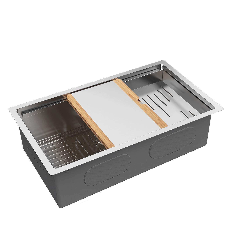 "MENSARJOR 30"" x 19"" Workstation Ledge Handmade Undermount Kitchen Sink SUS304 Stainless Steel 16 Gauge Big Single Bowl Bar or Outdoor"