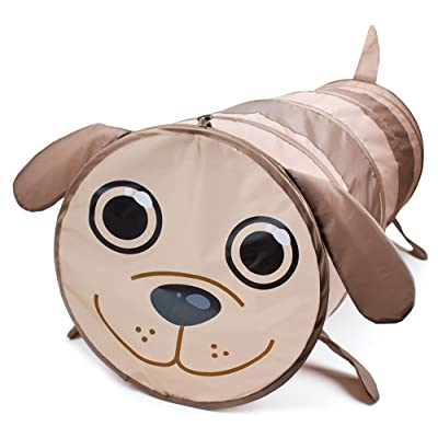 6 Foot Puppy Pop Up Exploration Tunnel - Brown Dog Collapsible Tube Toy for Kids - Children's Obstacle Course Set with Carrying Bag - Pretend Play for Toddlers, Girls, & Boys - Indoor & Outdoor Games: Toys & Games