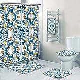 AmaPark 5 Piece Bath Rug Set,Decor Tunisian Mosaic with Azulojo Spanish Influence Authentic Retro Islamic Blue Print Bathroom Rugs Shower Curtain/Rings and Both Towels