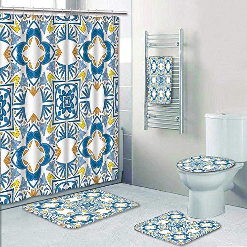 AmaPark 5 Piece Bath Rug Set,Decor Tunisian Mosaic with Azulojo Spanish Influence Authentic Retro Islamic Blue Print Bathroom Rugs Shower Curtain/Rings and Both Towels by AmaPark