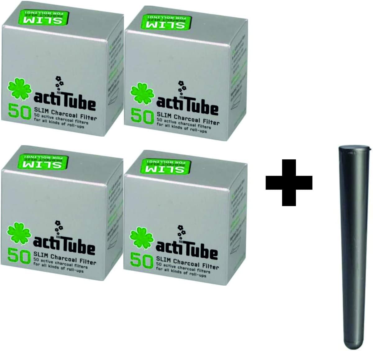 actiTube Kogu Set Slim 500 Filtro de carb/ón Activo 7,1 mm, Incluye Funda J 10x50